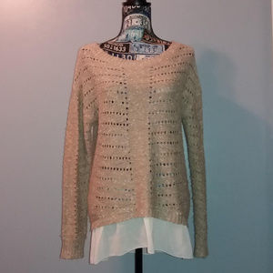 Forever 21 Beige Mixed Media Knit Sweater
